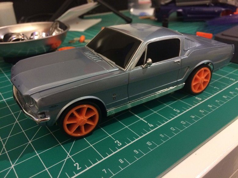 Classic Ford Mustang mounted on new chassis view 2